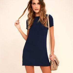 Lulus XS Shift and Shout Navy Blue Mini Dress
